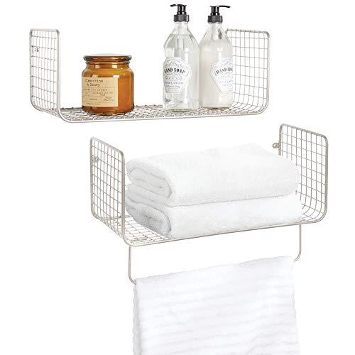 Mdesign set da 2 mensole bagno - mensola portasciugamani bagno in metallo - mensole design anche per garage, cucina o lavanderia - argento opaco