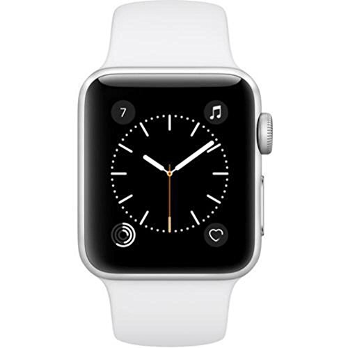 Apple watch 38mm ALUMINUM SPORT BAND (Silver Aluminum Case with White Sport Band)