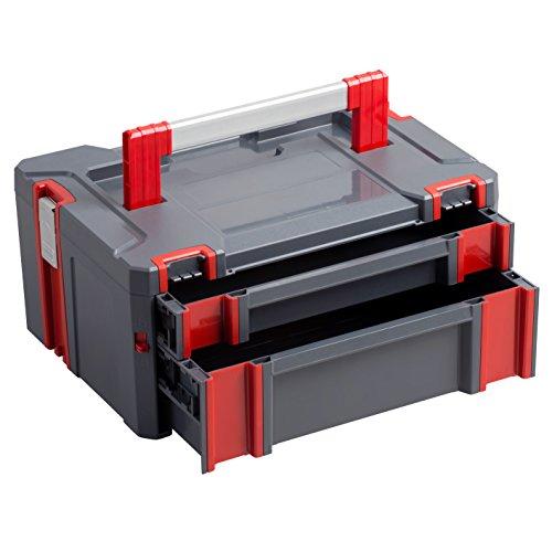 Connex COX566208 Werkzeugaufbewahrung Systembox mit Zwei Schubladen, Grau/Rot, 443 x 310 x 207 mm