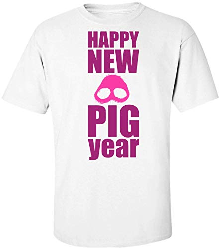Happy New Pig Year 2019 Minimal Pig Design Herren T-Shirt Small