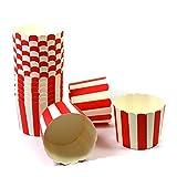 Frau WUNDERVoll 50 MUFFIN BACKFORMEN ROT, WEISSE STREIFEN Durchmesser 6,1 cm/Muffinbackform, Muffinform, Backformen, Backförmchen, Cupcake Formen, Muffin Förmchen Papier