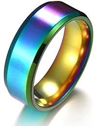 NiceButy 8MM espejo de titanio anillo de acero anillo de bodas anillo de acero inoxidable de