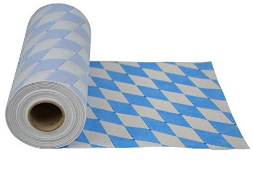 Wiesn Tischläufer - abwischbar - aus stoffähnlichem Vlies, Rolle 30 cm x 25m, Bayernmuster, Öko-Tex 100, ideal für jede Party, Oktoberfest