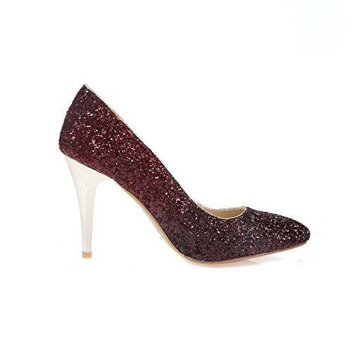 AllhqFashion Damen Ziehen Auf Pu Leder Spitz Zehe Stiletto Gemischte Farbe Pumps Schuhe Weinrot