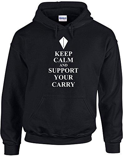 Keep Calm and Support your Carry, League of Legends Lol Video Games inspiré Imprimé Sweat à capuche - noir/blanc L= 106/111 cm