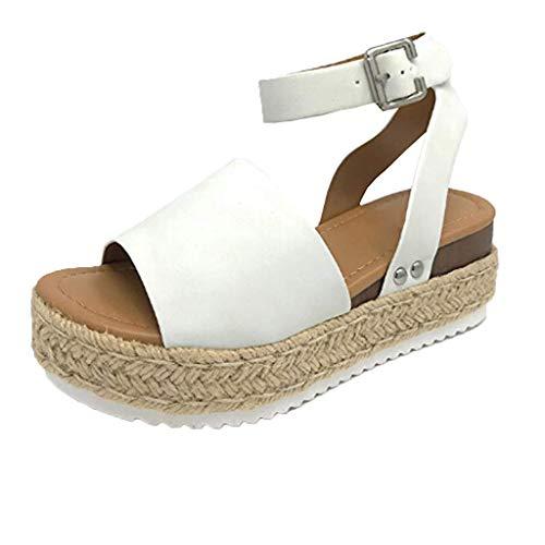 BURFLY Damen Sommer Neue Hanf dicken Boden mit Sandalen leichte römische Sandalen Strand Schuhe Freizeitschuhe