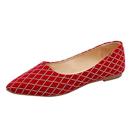 Alaso - Scarpe da ballerina da donna, in pelle, con strass, per matrimoni, serate, feste rosso 36