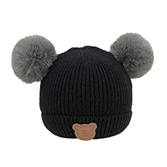 190969fab92 Innersetting Fashion Kids Girls Bear Pattern Hat Hair Ball Knitted Beanie  Cap (Black)