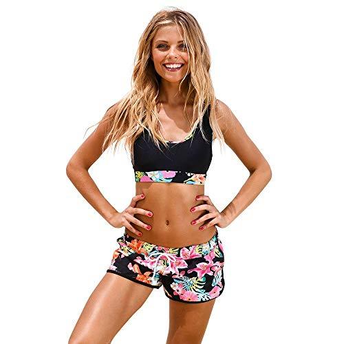 Go First Damen Zweiteiler Badeanzug Sportlicher Badeanzug Badebekleidung mit Racerback Crop Top Boyshort Bottom Beachwear (Color : Rosa, Size : Medium)