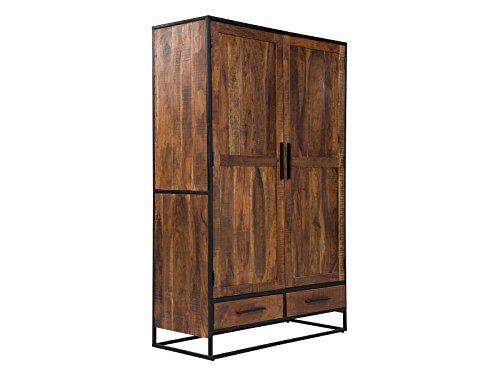 Massivum Oklahoma Wäscheschrank, 2-Tür / 2-Schub, Holz, dunkel braun, 50 x 120 x 190 cm