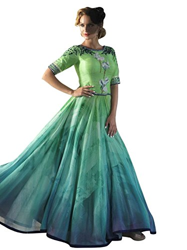 Varayu Women\'s Art Silk Anarkali kurta with Unstitched Bottomwear - JINIDJN2701_Green_Free Size