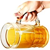 PARIJAT HANDICRAFT Beer Frosty Freezer Mugs Liquid Solid Glass Ice Mug For Beer Wine And All Other Soft And Hard Drinks