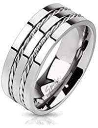 Paula & Fritz® R-TM-3682 Titanium Ring Silver Double Wire Available Ring Size 57(18)–69(22)