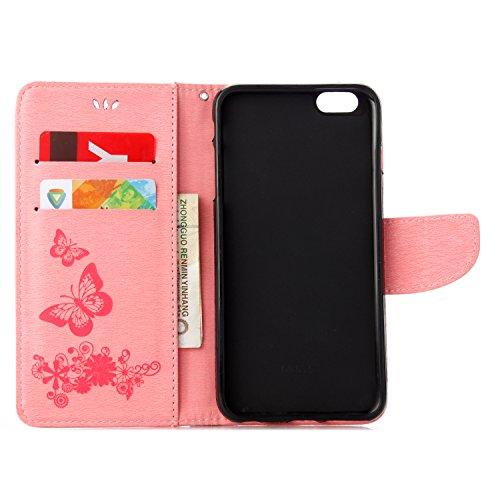 Cover per iPhone 6 Plus,per iPhone 6S Plus Custodia, ZCRO Portafoglio Cover in Cuoio PU Pelle Stand Protettiva Flip Case a Libro Farfalle Fiori Modello con Magnetica Strap e Penna Stilo Copertina Cust Design 2 Rosa
