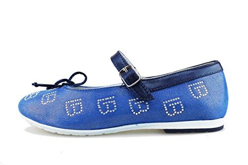 LAURA BIAGIOTTI ballerine blu tessuto pelle AG146 (34 EU)