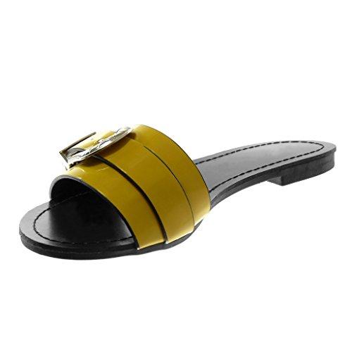 Angkorly Scarpe Moda Sandali Mules Slip-On Donna Fibbia Metallico Verniciato Tacco a Blocco 1.5 cm Ingiallimento