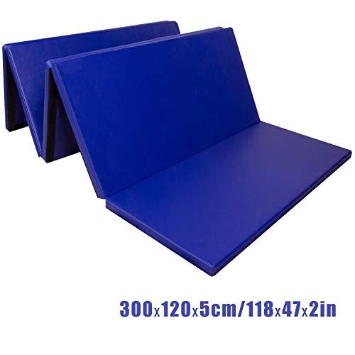 CCLIFE Colchoneta Plegable de Gimnasia y Colchoneta Yoga Colchoneta Deportiva Yoga estrilla 5 Pliegues, Color:Azul