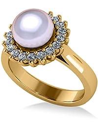 Anillo de compromiso con halo de Perla y Diamante 14k, oro amarillo, 8 mm