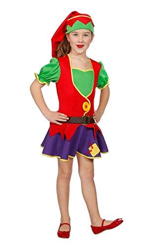 Zwergen-Kostüm Mädchen Kleid und Zipfelmütze Fantasy Märchen Karneval Fasching Theater Hochwertige Verkleidung Fastnacht Größe 116 Rot/Grün