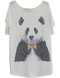 Luna et Margarita Blanco Camiseta de Algodón Manga del Batwing con Print Un Tamaño para el