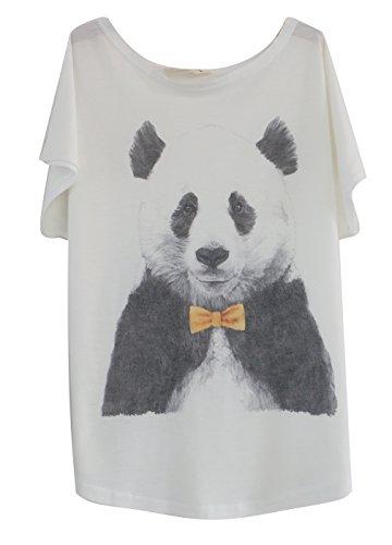 Luna et Margarita T-Shirt Femme Blanche Manche Chauve-Souris à Motif Panda à 86a6fbdf34fd