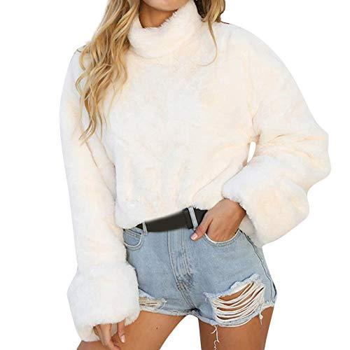 TWIFER Frauen Warm Langarm High Neck Pullover Bluse Mädchen Kurze Shirts Sweatshirt