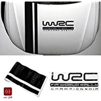 ISEE 360® WRC Stripe Racing Sports Sticker Graphic Hood Cover Vinyl Decal for Car Black 110.00 X 15.00 cm