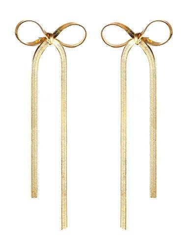 Vnox Kupfer 18K Gold überzogene große keltische Fliege Bowknot Troddel Tropfen Bolzen Ohrringe für Frauen (Senf Machen Kostüm)
