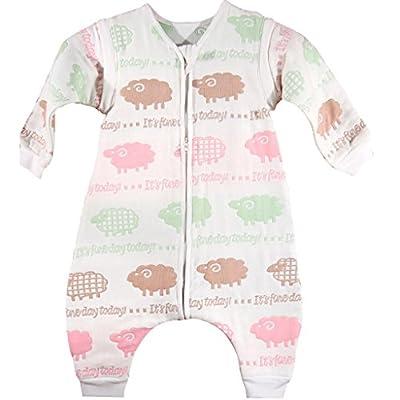 Vine Bebé Saco de Dormir Niños Niñas Bolsa del Sueño con Pies Mangas Largas Extraíbles 6 Capas de Gasa Pijama Bolsa de Dormir