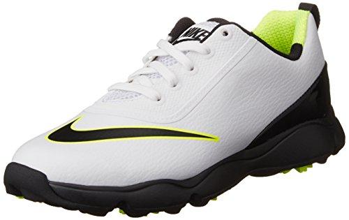 Nike Control, Chaussures de Golf Mixte Enfant, Blanc (White/Black/Volt), 35 EU