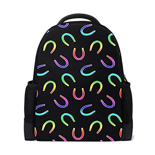 Hufeisen-muster (Regenbogen Muster kleine Hufeisen Drucke süße Rucksack lässig Daypack Rucksack Schultaschen für Studenten Mädchen Jungen)