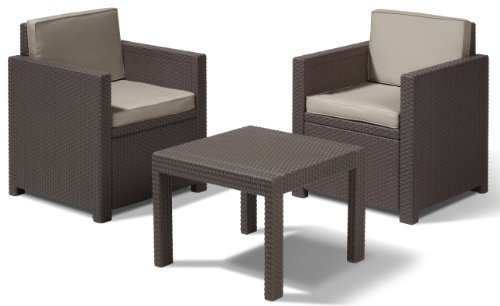 Allibert Lounge Set in Rattanoptik, Victoria Balkon Braun, 3-teiliges Lounge Set Rattan, Kunststoff Lounge Set