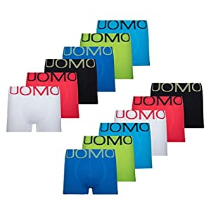UOMO Herren Boxershorts Retroshorts Unterhose 12er 6er Pack Mikrofaser Schwarz Neon Eagle Blade