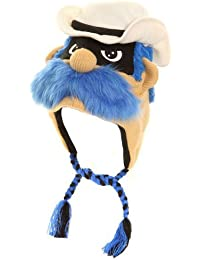 Mens Fancy Dress Novelty Knitted Peru Face Hat in One Size creamhat with blue moustache