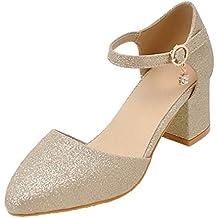 AgeeMi Shoes Donna Puro Tacco Medio Scarpe A Punta Fibbia Ballet-Flats
