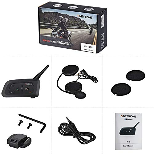 IKVRU Intercom, Motorcycle Bluetooth Helm Headset 1200 Meter Full Duplex Motobike Wireless Headphone 6Riders Communicator Talk Waterproof for Skiing Motorbike Camping (1pcs) Full-duplex Wireless