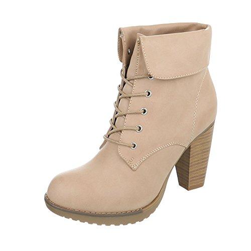 Ital-Design High Heel Stiefeletten Damen-Schuhe Schlupfstiefel Pump High Heels Schnürsenkel Stiefeletten Beige, Gr 36, Ka13-01H-