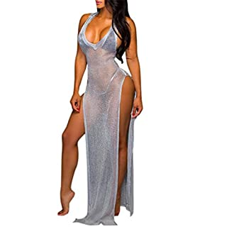 Ai.Moichien Sexy Beach See Through V Neck Sleeveless Side Split Dew Leg Long Dress Smock Gown Overall
