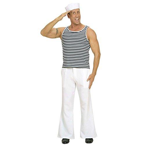 Shirt Russisch Kostüm - Amakando Marine Shirt Matrosen Unterhemd Marineshirt gestreift Fasching Russisches Matrosenhemd Seemann Oberteil Matrose Schiffsjunge Uniform Mottoparty Verkleidung Karneval Kostüm Herren