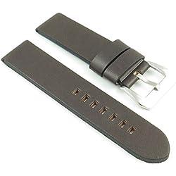 StrapsCo Dark Brown Thick Vintage Leather Watch Band size 20mm