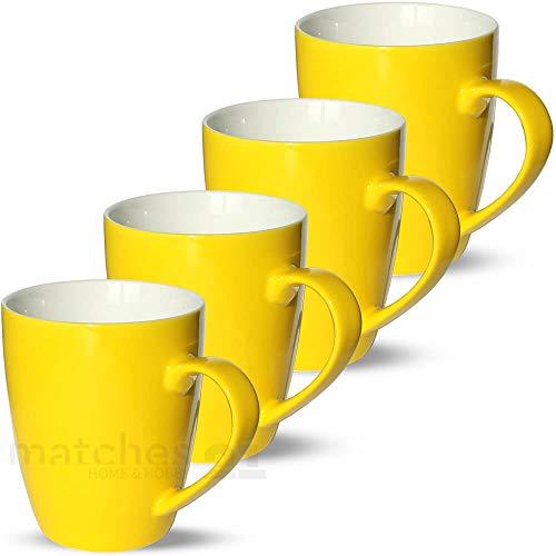 matches21 Tassen Becher Kaffeetassen Kaffeebecher Unifarben/einfarbig gelb Porzellan 4 Stk. 10 cm / 350 ml