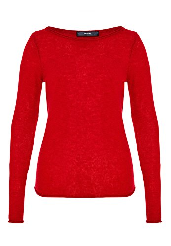 HALLHUBER Basic Kaschmir Pullover leicht tailliert tiefrot, XL (Kaschmir-pullover Roter)