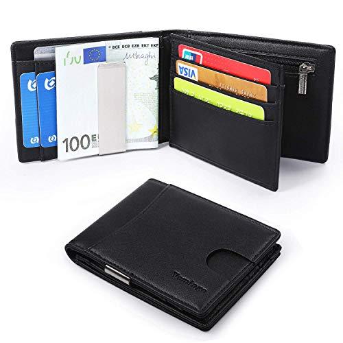 Vemingo Herren Geldbörse Geldbeutel mit Geldklammer Münzfach und Sichtfenster   RFID Blocker Kreditkartenetui Karten Portemonnaie   Dünne Brieftasche Portmonee für Männer XB-034 Schwarz