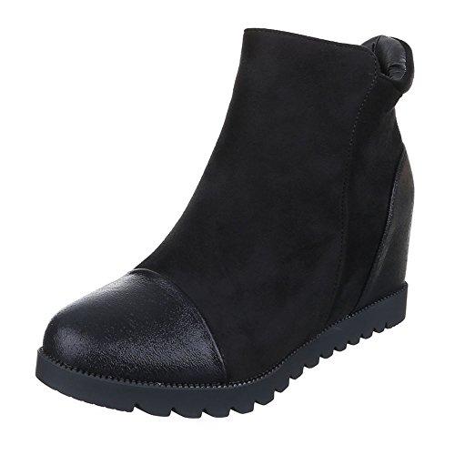 Keilstiefeletten Damen Schuhe Plateau Keilabsatz/ Wedge Leicht Gefütterte Reißverschluss Ital-Design Stiefeletten Schwarz, Gr 38, 0-152-