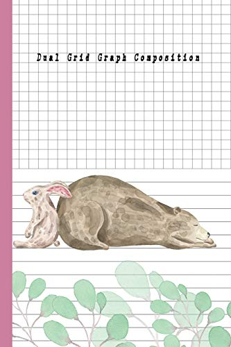 Dual Grid Graph Composition: Bear and Rabbit Composition Notebook Half Graph 4x4 Half Lined Paper Notebook on same page, Squared, Science, Maths, Lab Notebooks, Diary Practice Journal Organizer. - Dual-tray Storage