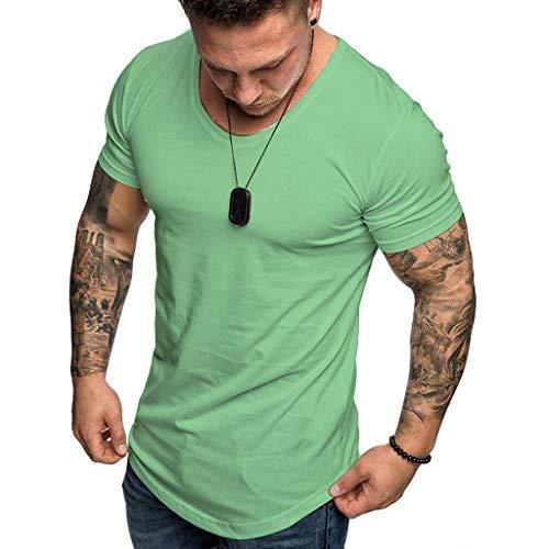 Camisetas Hombre Manga Corta SHOBDW 2019 Blusas Color Sólido Cómodo Tallas Grandes Tops Verano Camisetas Hombre Basicas Cuello Redondo Venta de liquidación M-3XL(Verde 3,XXL)