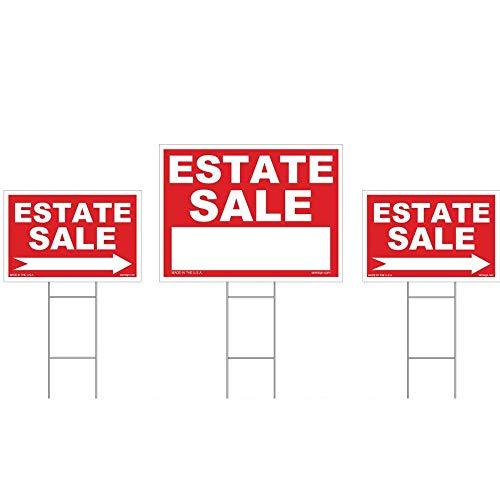 3er Pack Kombi Verkauf Sign Kit-doppelseitig Signs & mit h-stakes-Rot Eigentum Schilder 45,7x 61cm und 30,5x 45,7cm-Hohe Sichtbarkeit Schilder mit Pfeilen-Große, kräftigen Rasen Zeichen -