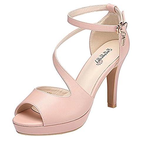 véritable F & Q Femmes Mode Graceful Peep Toe Sangle Boucle de Ceinture Party Mariage Stiletto talons Pompe Chaussures - Rose - rose,