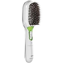 Braun Satin Hair 7 BR750 - Cepillo de pelo con cerdas naturales, cepillo alisador de pelo con tecnología iónica para realzar el brillo del cabello, color blanco