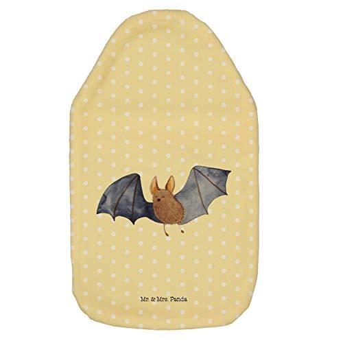 Mr. & Mrs. Panda Kinderwärmflasche, Wärmekissen, Wärmflasche Fledermaus fliegend - Farbe Gelb Pastell